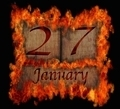 Burning wooden calendar January 27. - PhotoDune Item for Sale