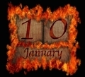 Burning wooden calendar January 10. - PhotoDune Item for Sale