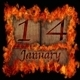Burning wooden calendar January 14. - PhotoDune Item for Sale
