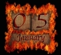 Burning wooden calendar January 5. - PhotoDune Item for Sale