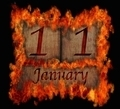 Burning wooden calendar January 11. - PhotoDune Item for Sale