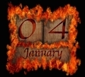 Burning wooden calendar January 4. - PhotoDune Item for Sale