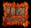 Burning wooden calendar January 17. - PhotoDune Item for Sale