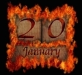 Burning wooden calendar January 20. - PhotoDune Item for Sale