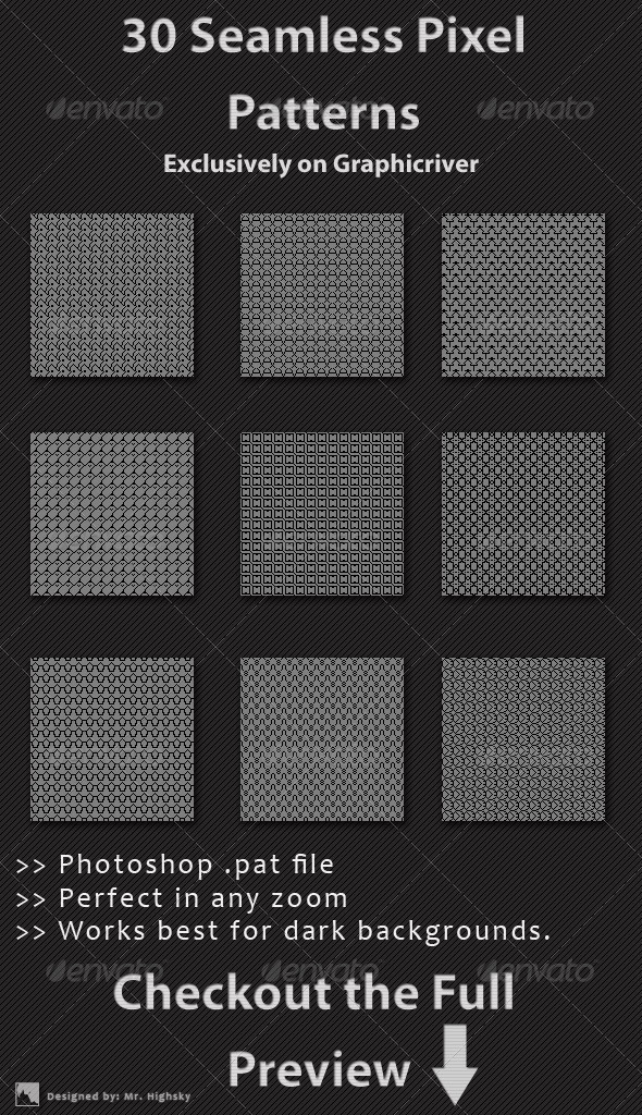 GraphicRiver 30 Seamless Pixel Patterns 6465287