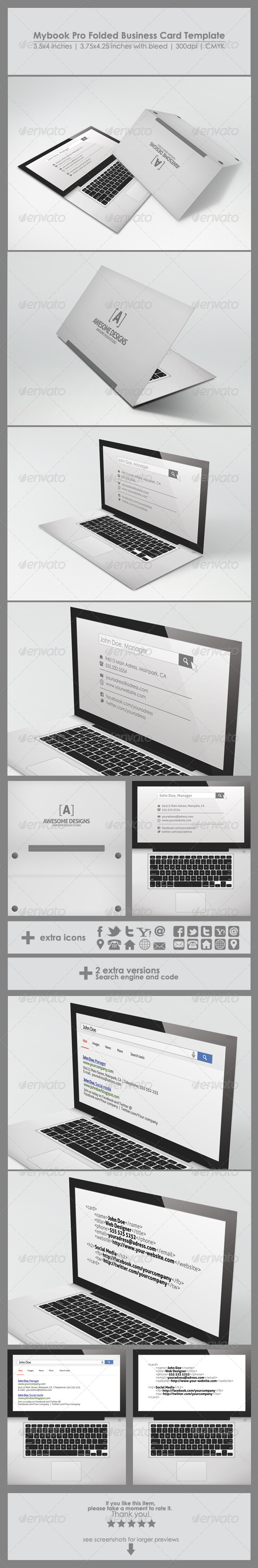 GraphicRiver Mybook Pro Folded Business Card Template 6432065