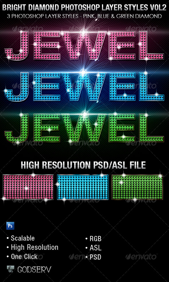 GraphicRiver Bright Diamond Photoshop Layer Styles Vol 2 6465733