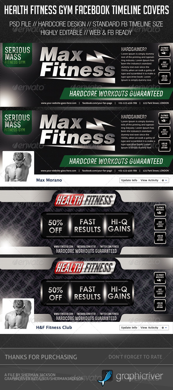 GraphicRiver Health Fitness Gym Facebook Cover Photos 6465851
