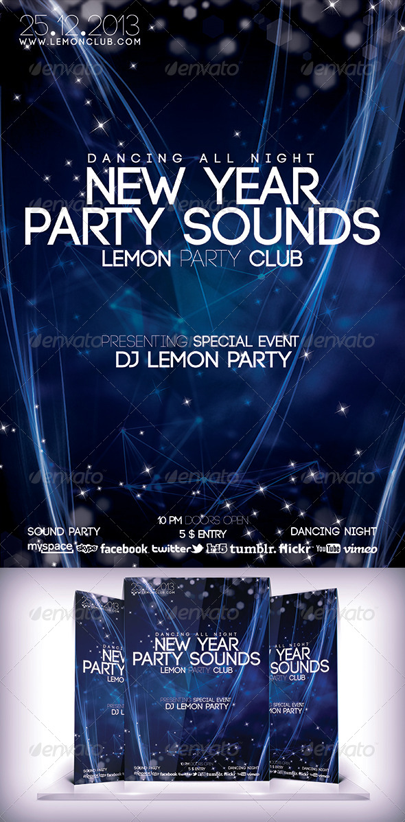 GraphicRiver New Year Party Sound Flyer 6466053