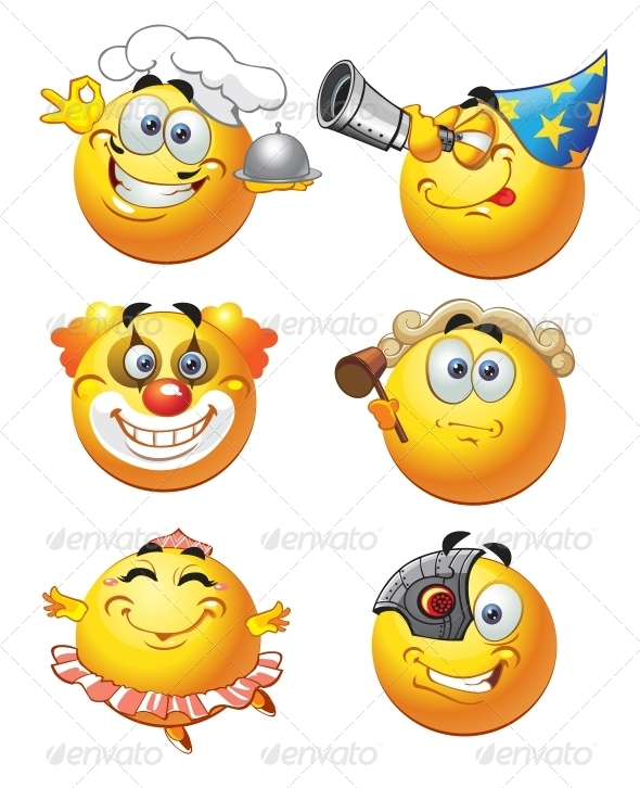 GraphicRiver Set of Round Smiles profession 6466356