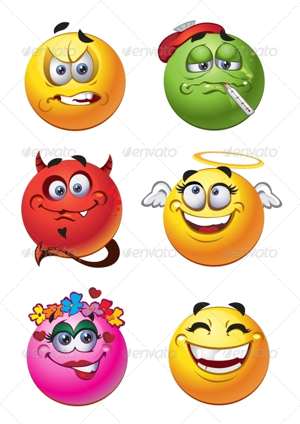 GraphicRiver Set of Batch Emotions Smiles 6466362