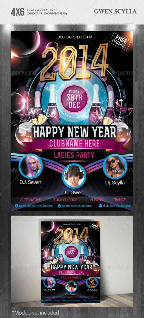 GraphicRiver Happy New Year 2014 DJs Event Flyer Templates 6432090