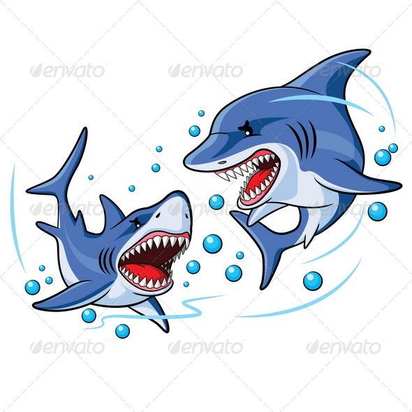 GraphicRiver Sharks Cartoon 6467743