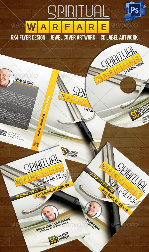 GraphicRiver Spiritual Warfare Disc Label Jewel Cover & Flyer 6467857