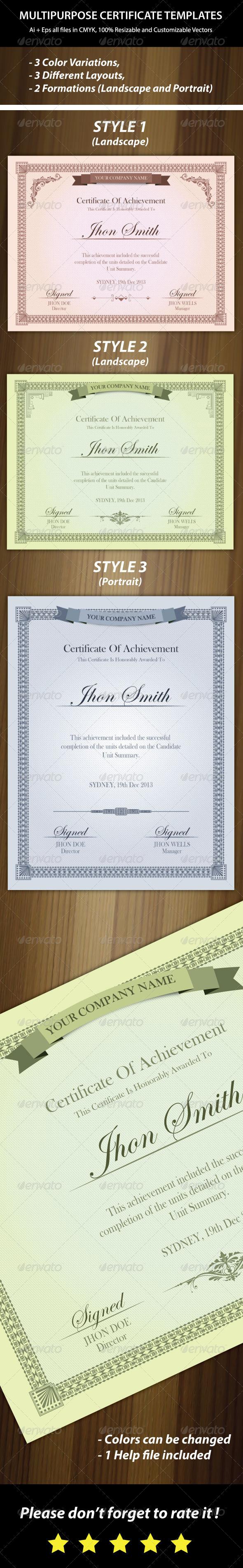 GraphicRiver 3 Colors Multipurpose Certificates 6468153
