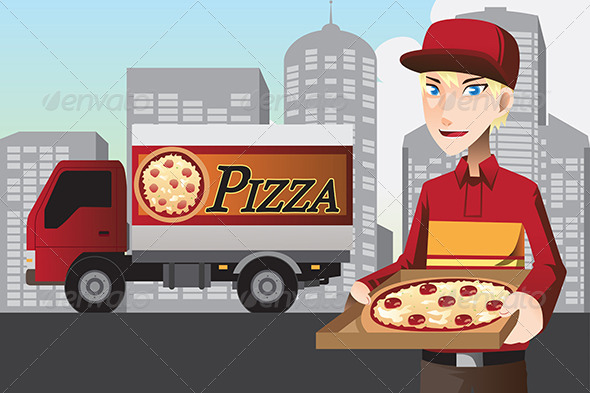 GraphicRiver Pizza Delivery Man 6468158