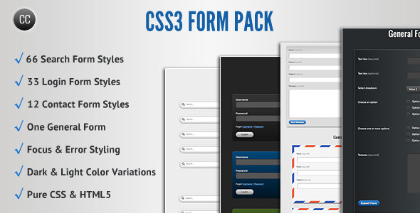 CSS3 FORM PACK Search Form Styles Login Form Styles Contact Form StyLes One General Form ciD Focus Error StyLing Dark Light Color Variations Pure CSS HTML5