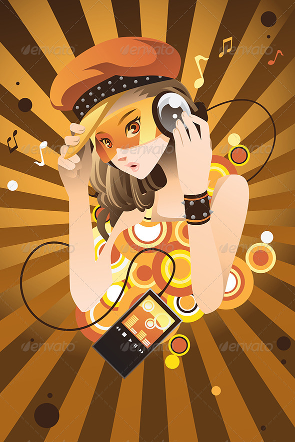 GraphicRiver Girl Listening to Music 6468403
