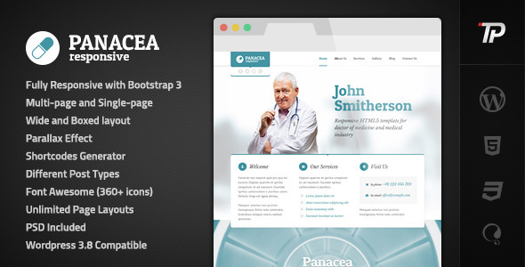 Panacea Medical Parallax Responsive WP Theme