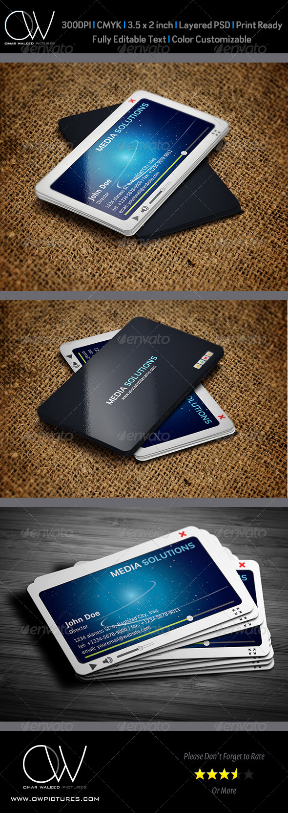 Media Business Card Template - Creative Business Cards