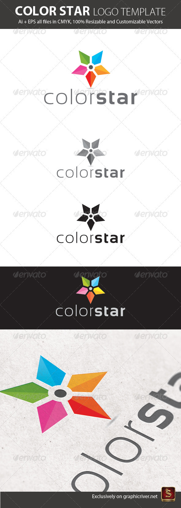 Color Star Logo Template - Vector Abstract