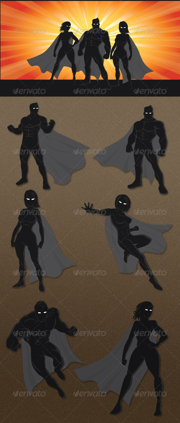 GraphicRiver Superhero Silhouettes 6469711