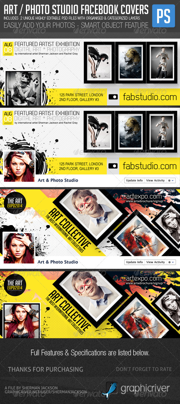 GraphicRiver Art Photo Studio Photographers Fb Covers 6469802