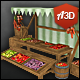 Vegetable Market Stall with Hand-painted Textures - 3DOcean Item for Sale