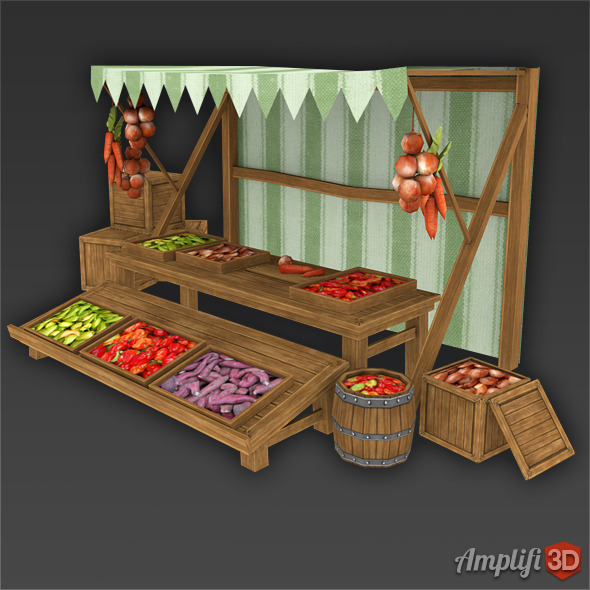 3DOcean Vegetable Market Stall with Hand-painted Textures 6469839