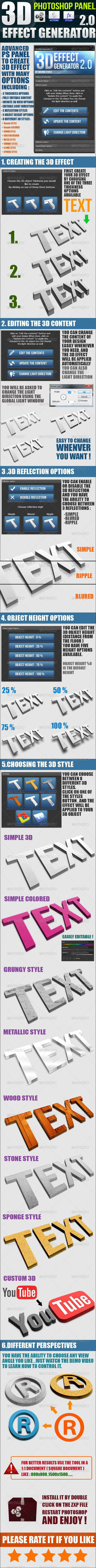 GraphicRiver 3D Effect Generator 2.0 Photoshop Panel & Actions 6469937