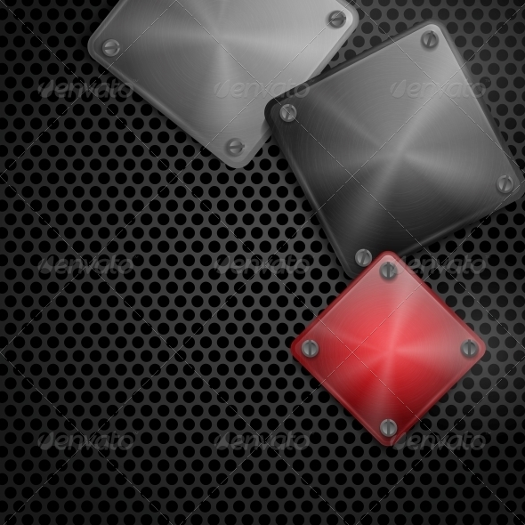 GraphicRiver Shiny Steel Square Plate with Screws 6470155