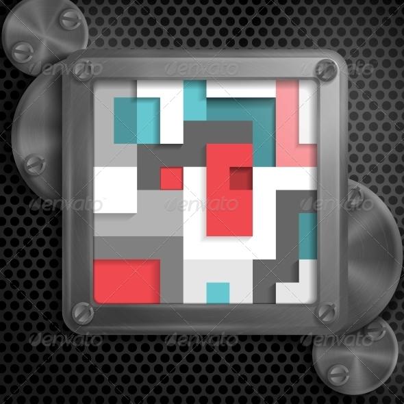 GraphicRiver Metallic Frame with Screws 6470159