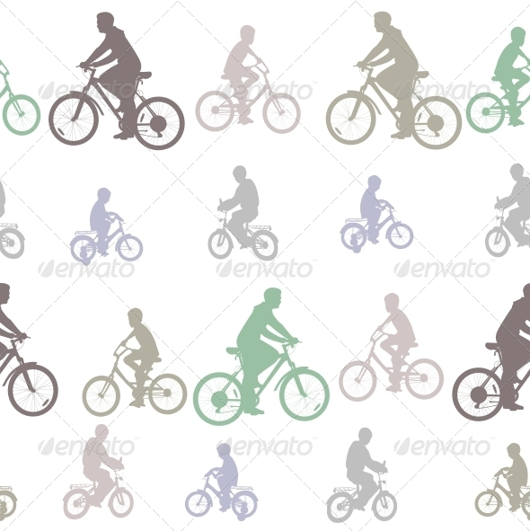 GraphicRiver Seamless Pattern of Cyclists Silhouettes 6470339