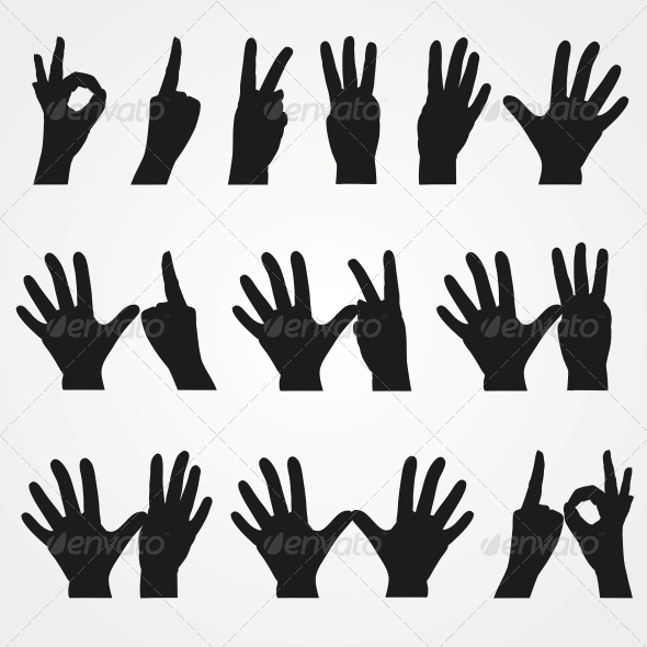 GraphicRiver Illustrations of Numbers in the Form of Hands 6470340
