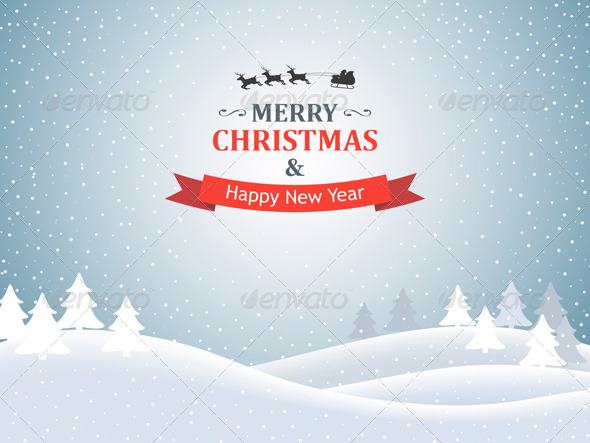 GraphicRiver Christmas Background with Winter Landscape 6470349