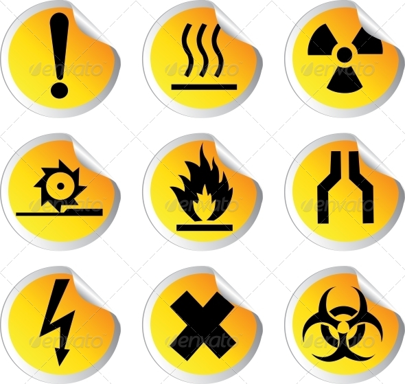 GraphicRiver Glossy Stickers with Warning Signs Set 1 6470538