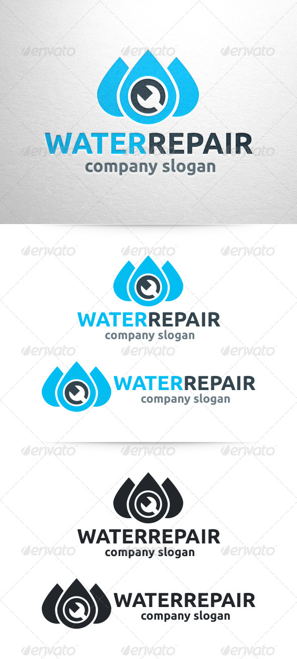 GraphicRiver Water Repair Plumber Logo 6470556