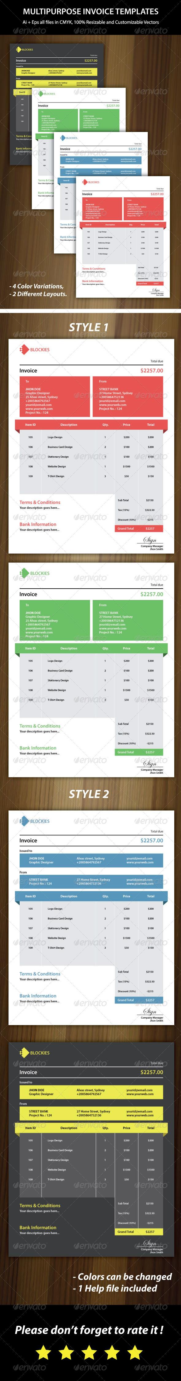 GraphicRiver Multipurpose Invoice Templates 6471156