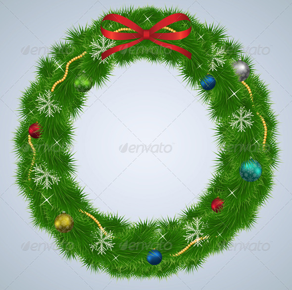 GraphicRiver Green Christmas Wreath with Ornaments 6471264