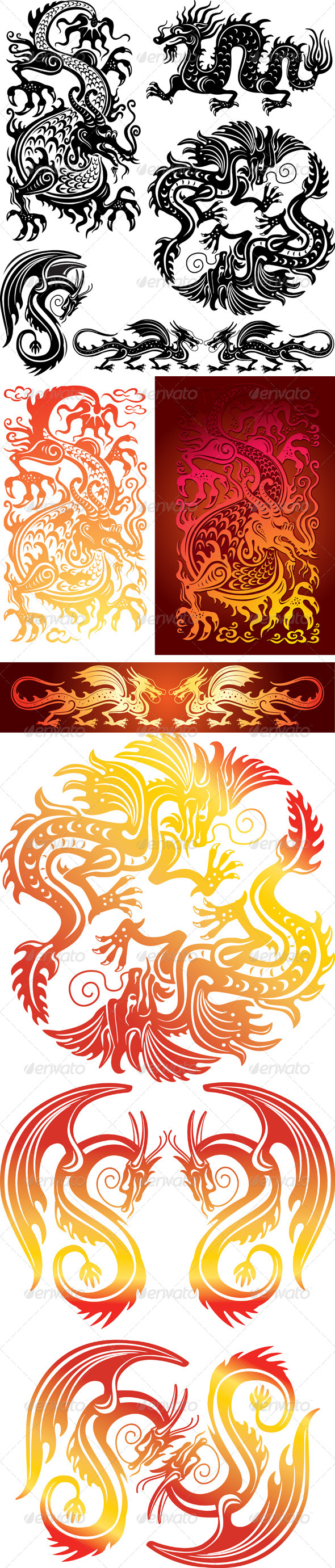 GraphicRiver Set of the Dragons 6471715