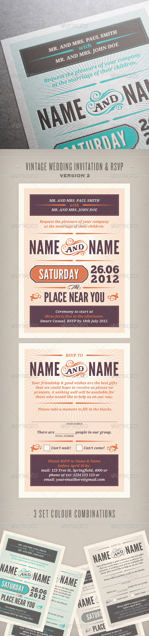 Rustic Wedding Invitation & RSVP - Weddings Cards & Invites