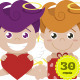 Cupids with Hearts, Gifts and Envelopes
