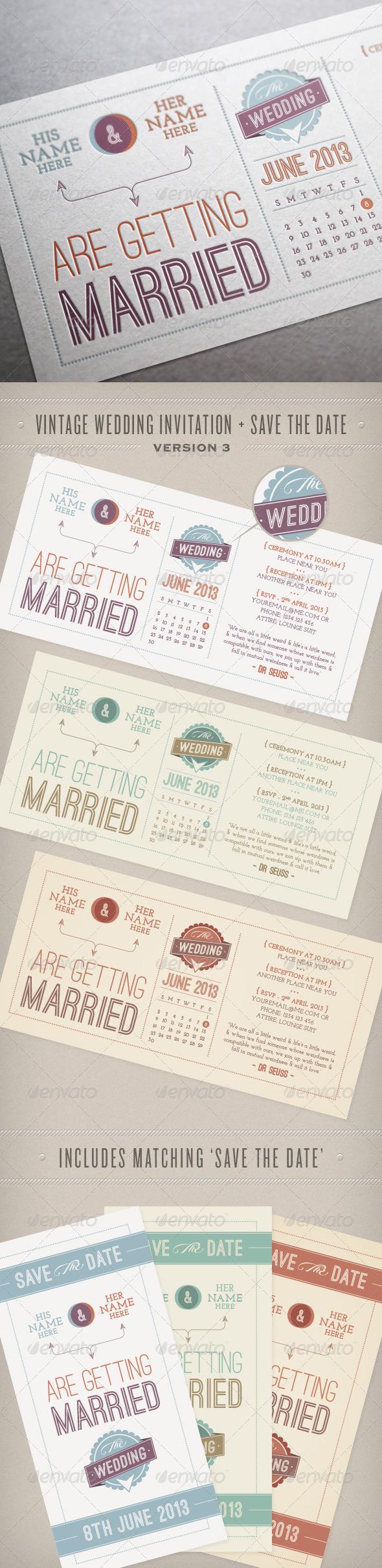 Vintage Wedding Invitation & Save the Date