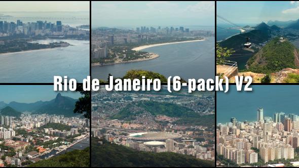 Brazil Aerial View Rio De Janeiro 6 6 Pack