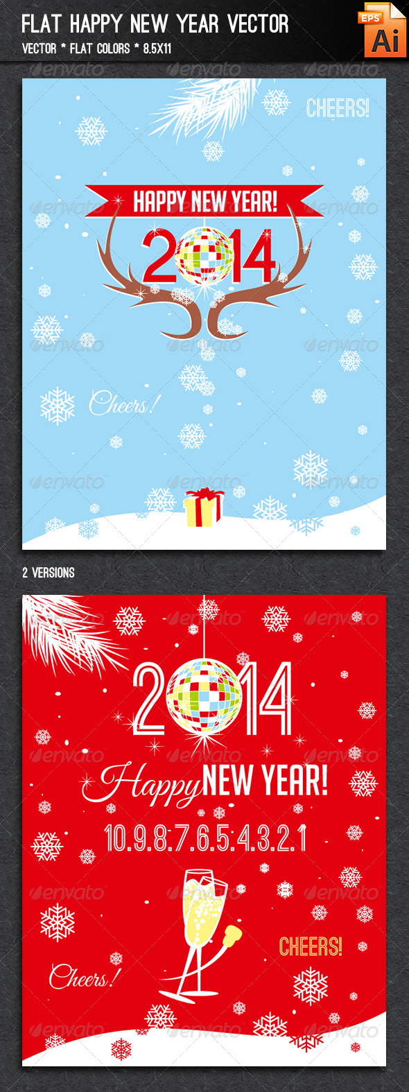 GraphicRiver Flat Happy New Year Vector 6472679