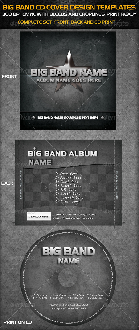Big Band Cd Cover Templates - CD & DVD Artwork Print Templates