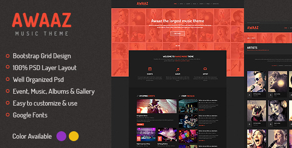 Awaaz Music PSD Template - Entertainment PSD Templates
