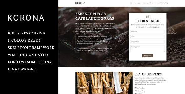 ThemeForest Korona Responsive Landing Page 6463437