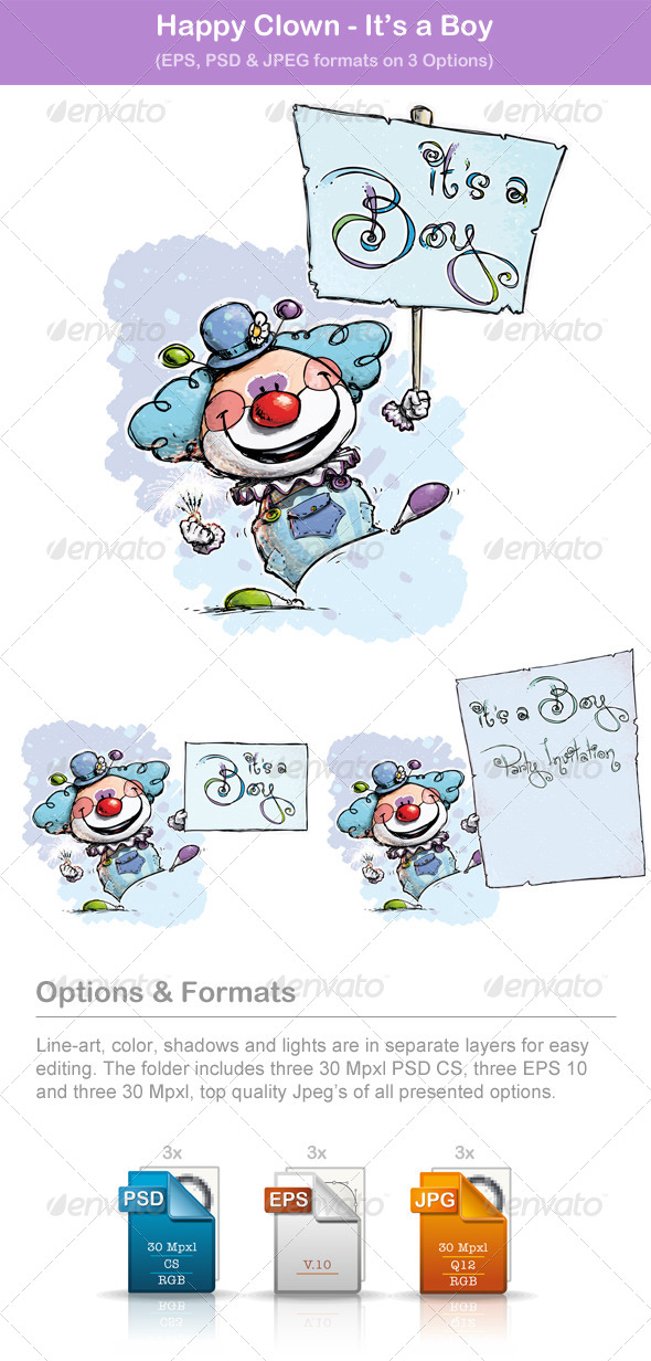 GraphicRiver Happy Clown Its a Boy 6473657