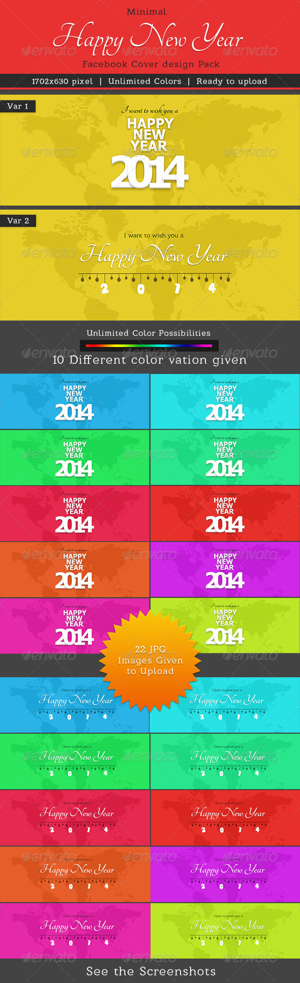 GraphicRiver Minimal New Year Faebook Cover Pack 6473899